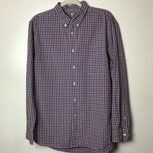 Uniqlo red and blue plaid button down. Large